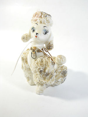 Vintage SPAGHETTI POODLE DOG Ceramic Figurines Chains 5 INCHES