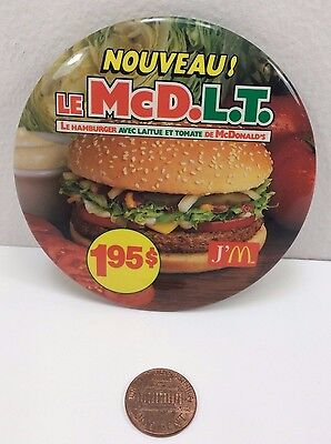 "Vintage 1984 ""new $1.95"" Mcdonalds McD.L.T French Canadian Button Pinback, Mcdlt"