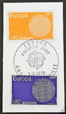 (C023)  Andorre 1970 Europa Set of (2) used on Piece.