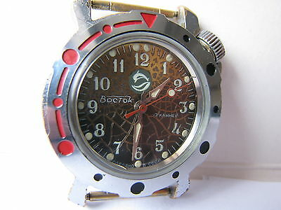 """USSR watch cal.2409  Wostok - Amphibian """"Dolphin """"military commander  working"""