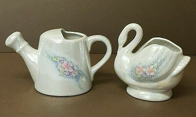 Set of 2 Vintage SWAN & Watering Can Porcelain TAIWAN Figurine - Pearl Butted