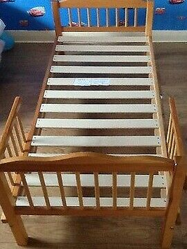 childs pine bed with sides (including New Mattress)