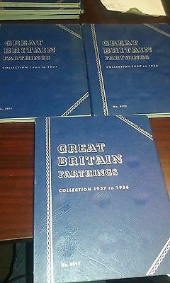 Great Britain Farthings Whitman albums with coins (LOT OF 3)
