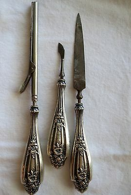 Antique Sterling Silver Manicure Set Grooming Set Curling Iron Three Piece Set