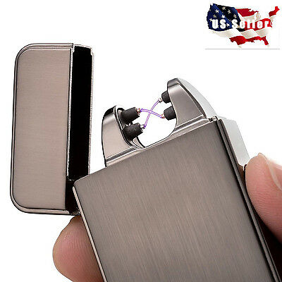 Black USB Electric Dual Arc Metal Flameless Torch Rechargeable Windproof Lighter
