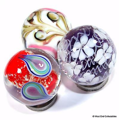 Set of 3 x 22mm Stunning Handmade Glass Toy Marbles- 1 x Glow in the Dark Marble