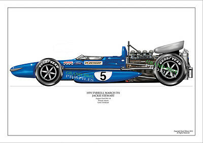 F1 Grand Prix Stewart 1970 Tyrrell March 701 Pro Airbrush Print