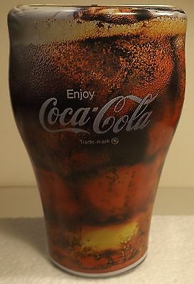 """COCA COLA Tin with Lid in form of Glass of Coke 7"""" tall dated 1997"""