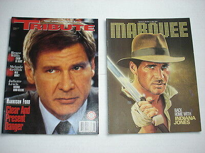 HARRISON FORD on cover movie magazine LOT of 2 TRIBUTE 1994 Marquee 1984