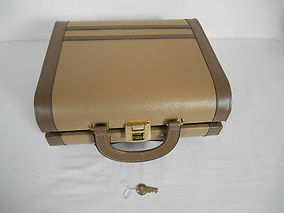 Vintage Hard Shell Lockable Faux Leather Lined Ladies Vanity Case with Keys