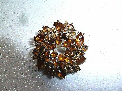 Vintage Amber Colored Brooch