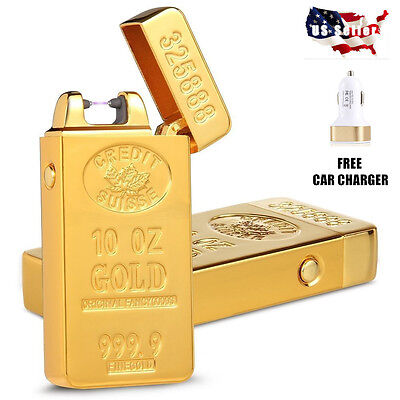 USB Gold Electric Arc Cigar Recharge Flameless Windproof Cigarette Lighter Pulse