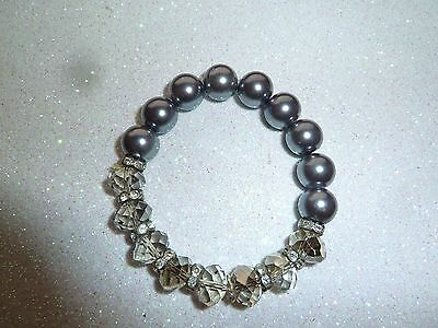 Vintage Stretch Dark Grey Faux Pearl Rhinestones Faceted Glass Beads