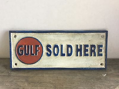 ~~~~Cast iron GULF SOLD HERE gasoline sign motor oil pump plates ~~~~~