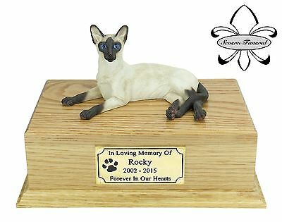Luxury Solid Wood Oak Urn, pet, cat, ashes, memorial, Siamese