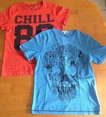 Two M&S Boys Short-Sleeve Tops; Cool Look; Size 7-8 Years