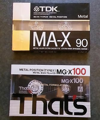 1 x TDK MA-X 90, 1 x Thats MG-X100 - Metal Position Tapes - New & Factory Sealed