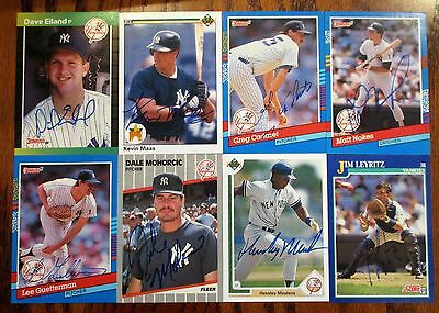 Lot Of (8) New York Yankee Autographed Baseball Cards