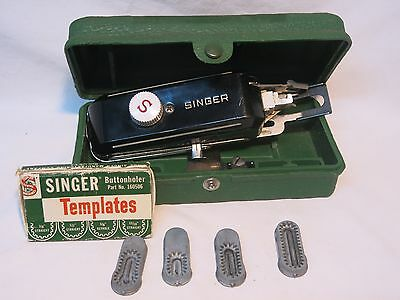 Vintage 1948 Singer Sewing Machine Buttonholer Attachment w/ Extra Templates