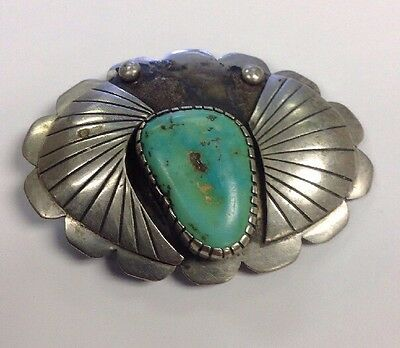 Handmade Native American Turquoise Belt Buckle 80% Silver Signed TM