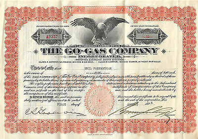 The Go-Gas Co. Class B Common Stock Certificate 1923