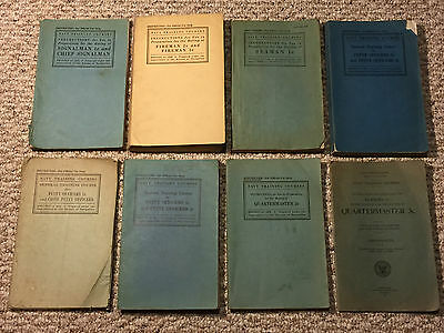 LOT of Eight Pre-War and WWII 1928-1942 U.S. Navy Training Course Manuals