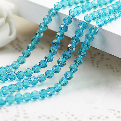 100PC 5000 6mm Crystal Blue Crystal  Glass Round Faceted Loose Bead Jewelry 5000