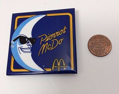 Vintage Mcdonalds Mac Tonight, French Canadian, Square Button Pinback Badge (A)