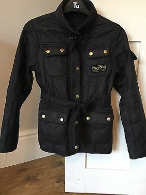 Girls Black Belted Barbour Jacket Age 10-11