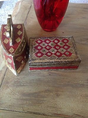Vtg. Gold Italian Florentine Tole Iron And Matching Box Red/gold