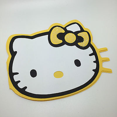 Sparkly Hello Kitty head-shaped greeting card