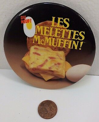 Vintage Mcdonalds 1984 Omelette McMuffin, French Canadian, Button Pinback Badge