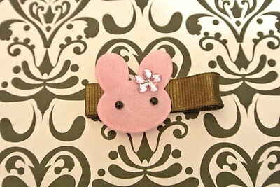 cute pink bunny RIGHT SIDE hair clip