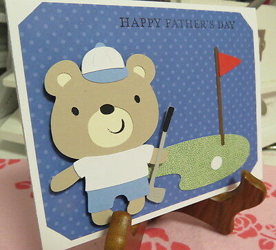 Golfing bear father's day greeting card