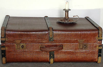 Vintage Steamer Trunk/Railway Travel Chest.Cleaned & Renovated.Wood,Brass,metal.