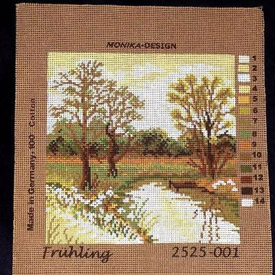 Monika Design Printed Tapestry Needlepoint Canvas Spring Trees Scenic