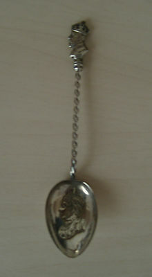 1902 Edward VII head Coronation spoon with Queen Alexandra in bowl-twisted stem