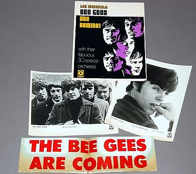 1968 The BEE GEES Atco Photo Press Kit w/ Promo Bumper Sticker Vince Colin