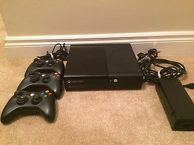 XBOX 360 (black slimline) console 250gb with 3 controllers & 13 games.