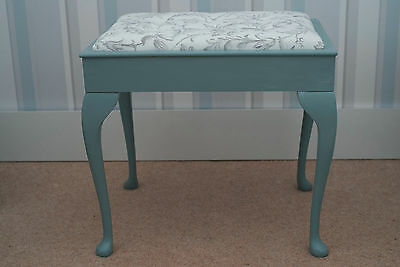Painted piano stool with reupholstered seat