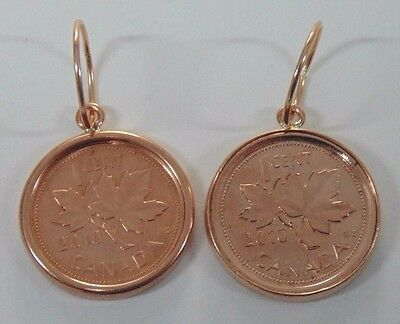 10k Rose Gold Earrings with a Penny enclosed in Copper