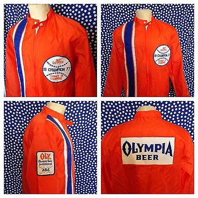 Vintage 1970's Olympia softball windbreaker jacket 1977 Oly Beer back patch