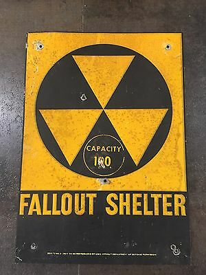"VINTAGE 1960s ~ FALLOUT SHELTER ~ METAL SIGN ~ 14"" BY 10"""