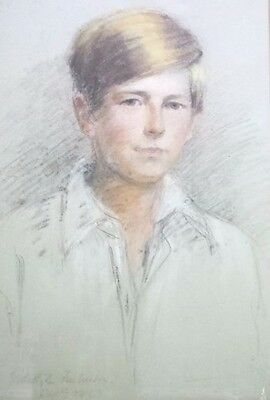 1923 Pastel drawing (not oil) of a Portrait of a young man signed by Edith ???