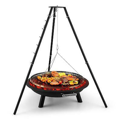 Outdoor Grill Charcoal Fire Bowl Bbq Picnic Tripod Stand Party Food Open Swing