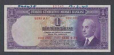 Turkey One Lira (25.4.1942) P135S Specimen About Uncirculated