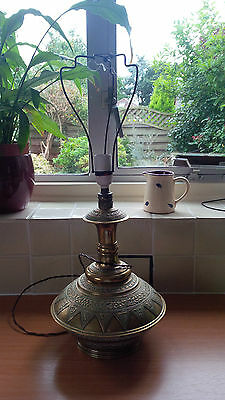 Antique Middle Eastern Style Large Brass Lamp Base