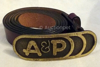 "A&P Grocery Store Belt with Buckle 44""L Excellent Reddish Brown"
