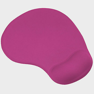 Hot Pink Mouse Mat Pad with Comfort Gel Wrist Rest Support for PC & Laptop