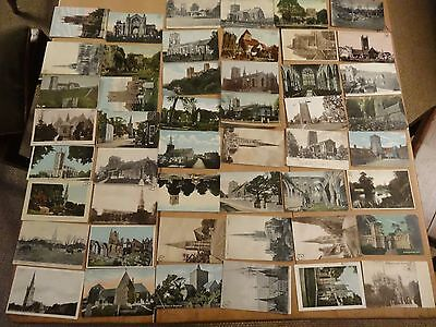 48 old postcards of churches -mainly Edwardian